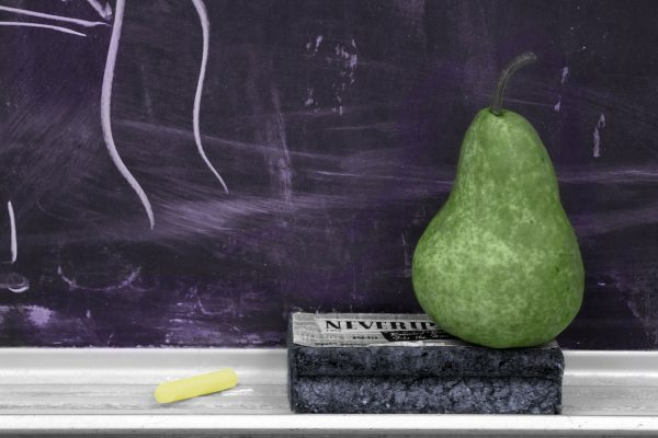 school, chalkboard, pear